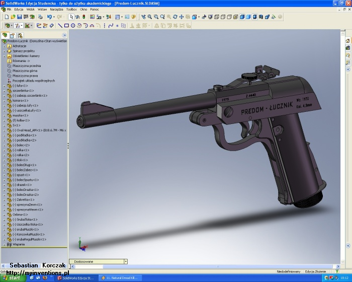 Model wiatrówki w SolidWorks (2008)